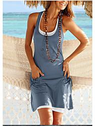 cheap -Women's T Shirt Dress - Color Block Black Wine Blue S M L XL
