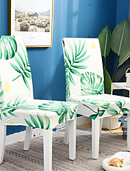 cheap -2 Pack Green Leaves Print Super Fit Stretch Chair Cover Stretch Removable Washable Dining Room Chair Protector Slipcovers Home Decor Dining Room Seat Cover