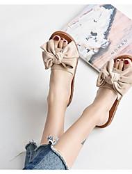 cheap -Women's Sandals Flat Heel Round Toe PU Summer Black / Beige