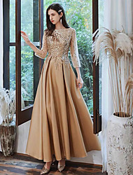 cheap -A-Line Boat Neck Floor Length Satin / Sequined Glittering / Gold Prom / Formal Evening Dress with Sequin 2020