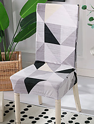 cheap -High Quality Printed Black Ash Geometry Spandex Chair Covers For Dining Room Chair Cover For Party Chair Cover For Wedding Living Room Chair Covers