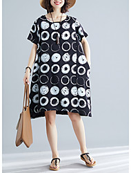 cheap -Women's White Black Dress Loose Polka Dot One-Size Oversized