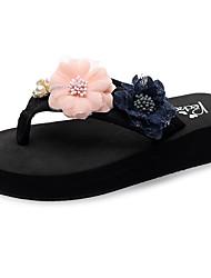 cheap -Women's Slippers & Flip-Flops Flat Heel Open Toe Rhinestone / Satin Flower / Sparkling Glitter Polyester Casual / Minimalism Walking Shoes Summer Green / Pink