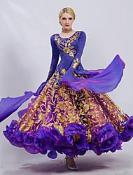 cheap -Ballroom Dance Dress Embroidery Cascading Ruffles Paillette Women's Performance Long Sleeve Ice Silk