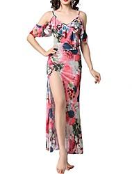 cheap -Sheath / Column Floral Pink Holiday Beach Dress Spaghetti Strap Short Sleeve Tea Length Polyester with Ruffles Split Pattern / Print 2020
