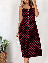 cheap -Women's Daily Going out Boho A Line Sheath Dress - Polka Dot Backless Black Wine White M L XL XXL