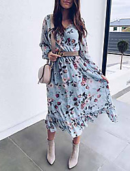 cheap -Women's Light Blue Dress A Line Floral V Neck S M