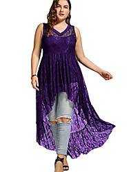 cheap -Women's Maxi A Line Dress - Sleeveless Solid Color V Neck Wine White Black Purple Green Royal Blue XL XXL XXXL XXXXL XXXXXL