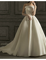 cheap -Ball Gown Strapless Watteau Train Satin Strapless Simple Elegant Wedding Dresses with Ruched 2020