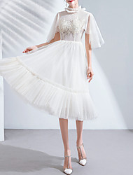 cheap -A-Line High Neck Knee Length Tulle Bridesmaid Dress with Pleats