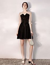 cheap -A-Line V Neck Short / Mini Tulle / Velvet Sexy / Black Party Wear / Cocktail Party Dress with Sequin 2020