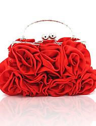 Недорогие -Жен. / Девочки Цветы Шелк Вечерняя сумочка Свадебные сумки Сплошной цвет Белый / Черный / Красный / Наступила зима