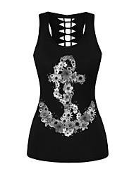 cheap -Women's Daily Sports Basic / Punk & Gothic Tank Top - Floral Print Black
