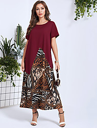 cheap -Women's Maxi Wine Dress Casual Active Daily Work A Line Color Block S M Loose