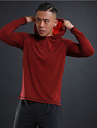 cheap -Men's Hoodie Sweatshirt Running Shirt Long Sleeve Breathable Quick Dry Soft Running Walking Jogging Sportswear Top Red Blue Green Gray Activewear Stretchy