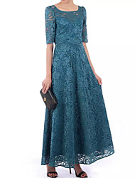 cheap -A-Line Scoop Neck Floor Length Polyester / Lace Floral / Elegant Formal Evening / Wedding Guest Dress with Pleats 2020