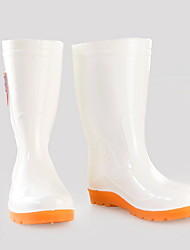 cheap -Men's PVC Spring & Summer Casual Boots Wear Proof Mid-Calf Boots White