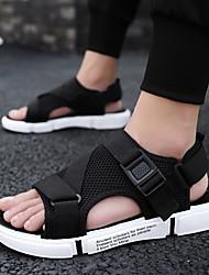 cheap -Men's Comfort Shoes Mesh Spring & Summer Classic / British Sandals Walking Shoes Breathable Black / White