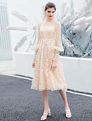 cheap -A-Line Elegant Flirty Graduation Prom Dress High Neck Long Sleeve Tea Length Lace Tulle with Pleats Appliques 2020