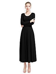 cheap -Ballroom Dance Dresses Women's Daily Wear Milk Fiber Wave-like Long Sleeve Natural Dress