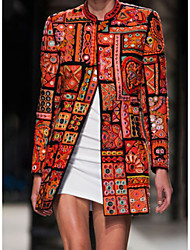 cheap -Women's Daily Fall & Winter Long Jacket, Geometric Stand Long Sleeve Polyester Orange