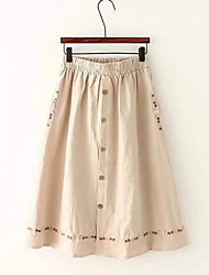 cheap -Women's A Line Skirts - Solid Colored Green White Beige One-Size