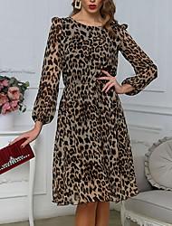 cheap -Women's Khaki Dress Sheath Leopard S M