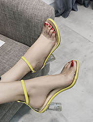 cheap -Women's Heels Chunky Heel Round Toe PU Spring & Summer Yellow / Black / Beige