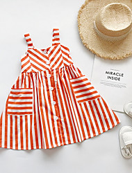 cheap -Kids Girls' Striped Dress Orange