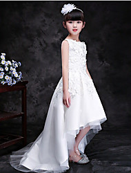 cheap -Princess Chapel Train Wedding / Party Communion Dresses - Lace Sleeveless Jewel Neck with Lace