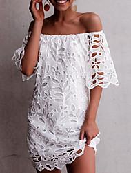 cheap -Women's Shift Dress - Half Sleeve Solid Color Off Shoulder Wine White Black Navy Blue S M L XL