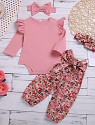 cheap -Baby Girls' Active Boho Print Ruffle Print Long Sleeve Regular Clothing Set Blushing Pink