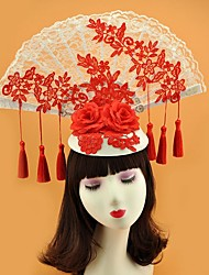 cheap -Poly / Cotton Blend Headpiece with Flower 1 Piece Wedding Headpiece
