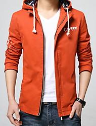 cheap -Men's Daily Fall & Winter Regular Jacket, Letter Hooded Long Sleeve Polyester Black / Wine / Orange