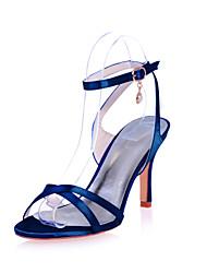 cheap -Women's Wedding Shoes Stiletto Heel Open Toe Imitation Pearl Satin Minimalism Spring & Summer Black / White / Purple / Party & Evening