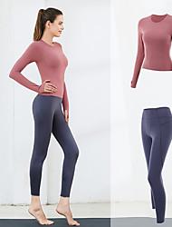 cheap -Women's 2pcs Tracksuit Yoga Suit Winter Solid Color Dark Pink Black / Yellow Yellow Elastane Yoga Running Fitness Shirt Leggings Long Sleeve Sport Activewear Breathable Moisture Wicking Butt Lift