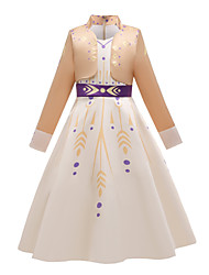 cheap -Princess Anna Dress Flower Girl Dress Girls' Movie Cosplay Cosplay Costume Party Beige Dress Polyster