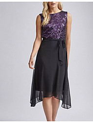 cheap -A-Line Jewel Neck Knee Length Chiffon Sparkle / Black Cocktail Party / Party Wear Dress with Sequin / Draping / Sash / Ribbon 2020