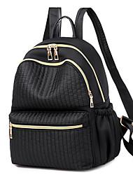 Недорогие -Большая вместимость Полиэстер Нейлон Молнии рюкзак Сплошной цвет Повседневные Черный