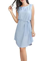cheap -Women's Asymmetrical Black Light Blue Dress Casual Active Daily A Line Solid Color Patchwork S M / Cotton
