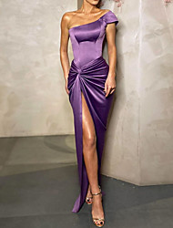 cheap -Sheath / Column One Shoulder Floor Length Polyester Sexy / Purple Party Wear / Prom Dress with Draping / Split 2020