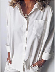 cheap -Women's Daily Casual Blouse - Solid Colored Pocket Shirt Collar Orange / V Neck