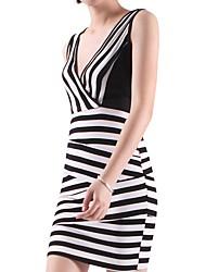 cheap -Women's Black Dress Sheath Striped V Neck S M