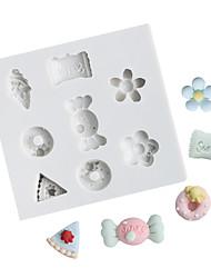Недорогие -мультфильм конфеты цветок пончик шоколад плесень помадка торт плесень силиконовые формы инструменты для домашней выпечки