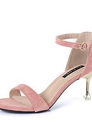 cheap -Women's Sandals Stiletto Heel Round Toe Suede Summer Black / Pink