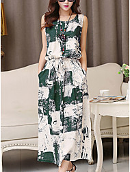 cheap -Women's Green Blue Dress Casual Cute Daily Going out Sheath Print Print S M