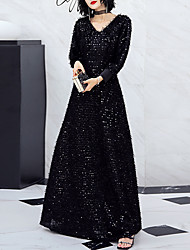 cheap -A-Line Glittering Black Party Wear Formal Evening Dress V Neck Long Sleeve Floor Length Spandex Sequined with Sequin 2020