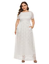 cheap -Women's Party A Line Dress - Solid Color Lace White Black XL XXL XXXL XXXXL