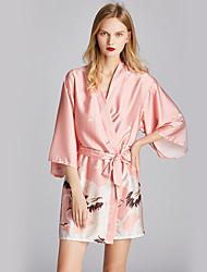Недорогие -Полиэфир Халаты Сексуальные платья Жаккард Свадьба Вышивка бисером в виде цветов Пижамы