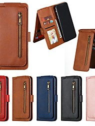 cheap -Phone Case For Apple Full Body Case Leather Wallet Card iPhone 12 Pro Max 11 SE 2020 X XR XS Max 8 7 6 Wallet Card Holder Shockproof Solid Color PU Leather